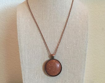 """Epoxy Resin Circle Necklace, Sparkling Copper Resin Pendant, 24"""" Rose Gold Chain"""