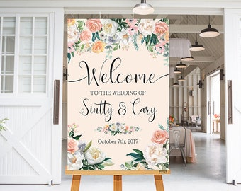 Wedding Welcome Sign White Blush Peach Flowers Floral Boho Digital Wedding Reception Sign Bridal Wedding Welcome Poster WS-034