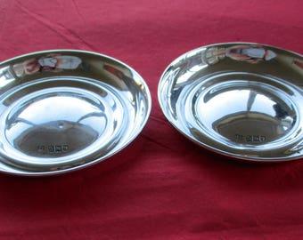 Antique Art Nouveau Era Sterling Silver Matching Circular Dishes – London 1908.