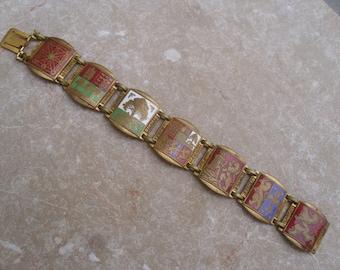 A Vintage Spanish Enameled 1950's-60's Souvenir Bracelet