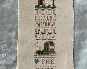 """Unframed / Stitched / Completed Cross Stitch - """"Land of the Free"""" Patriotic Sampler"""