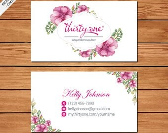 Thirty One Business Card, Printable Files, Elegant Business Card, Purple Flowers, TO02