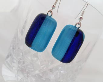 Blue fused glass earrings with dichroic glass elements | For her | Ideal present | Handmade jewellery