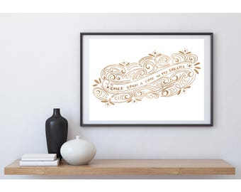 Pintrable Lettering / illustration - Once upon a time in my dreams - Gold
