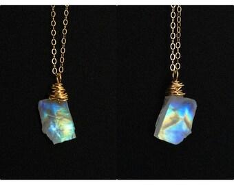 Iridescent Necklace Iridescent Jewelry Raw moonstone necklace rainbow moonstone blue flash Rustic gemstone necklace Raw Moonstone Beads