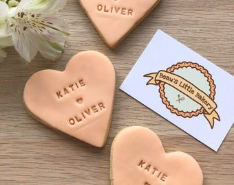 Personalised Heart Biscuits/Cookies Wedding Party Favours
