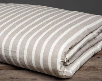 Gray European Linen-Cotton Duvet Cover -  Gray with White Stripes