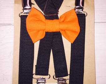 Halloween bow tie set, baby suspenders, orange bow tie, thanksgiving bow tie, black suspenders, toddler bow tie, kids bow tie, handmade bow