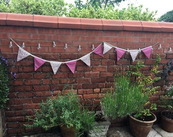 Rose pink and floral shabby chic bunting