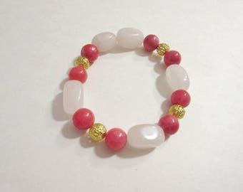Natural Stone and Gold Beaded Bracelet