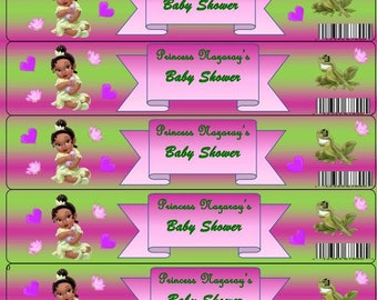 Princess Tiana Baby Shower Water Bottle Lables