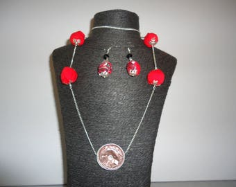 #Eté necklace with balls fabric and capsule nespresso - earrings