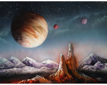 Space Landscape - Spray Paint Art - Desert Scene - Purple Mountains - Planets in Night Sky - Fantasy Outer Space - Starry Night Sky Arizona