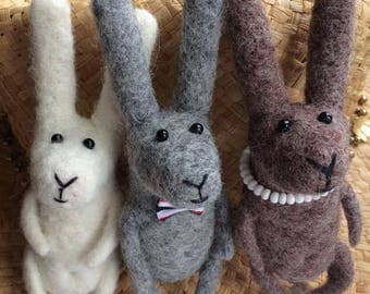 Bunny/ Rabbit /Hare/Decor/Cute/Wool/Felted/Animals/Happiness in details