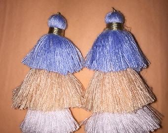 Beach tiered tassel earrings