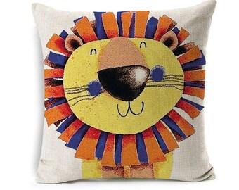 Kids Cartoon Animal Cushion Cover Lion Throw Pillow Case