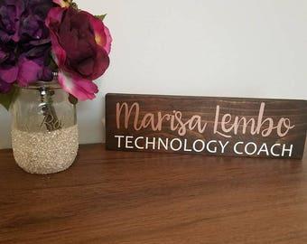 Personalized Desk Name Plate   Teacher Desk Sign   Wood Teacher Name Plate   Custom Office Name Sign   Gift For Teachers