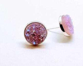 Pink Druzy earrings, Faux Druzy stud earrings, Druzy stud earrings, druzy earrings, stud earrings
