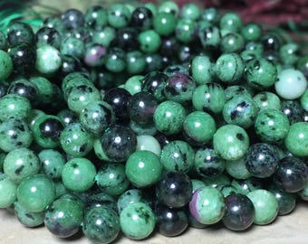 6mm Full Strand Natural Ruby Zoisite Gemstone Round 6mm Loose Beads 15.5 inch Full Strand, Ruby Zoisite, Natural Ruby Zoisite Beads