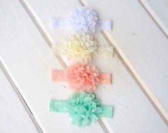girl headband, baby flower headband, toddler  white headband