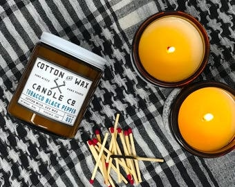 Tobacco Black Pepper Soy Candle | soy candles handmade | unisex scent | cognac musk | hand poured by Cotton and Wax Candle Co.
