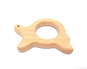 Natural raw wood turtle teething toy