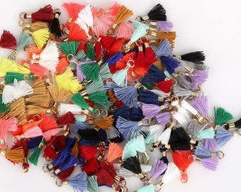 Tiny Mini Cotton Tassels - 10 pieces - 13mm - 1/2 inch - Mixed Colour Lot - Jewelry Making - Craft Supplies