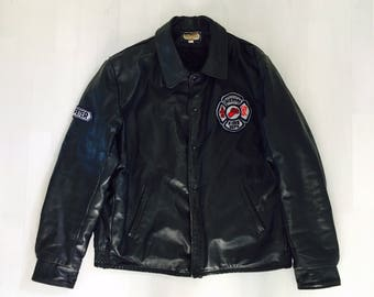 VINTAGE Leather Fire Department Jacket, Creemore Fire Department Dark Navy Leather Jacket