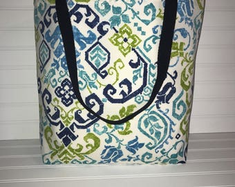 Handmade Everyday Tote | Market Bag | Green & Blue Paisley Tote
