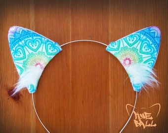 Mandala Flower Cat Ears Costume Headband