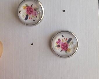 Boho flower Studs/ Pink Studs