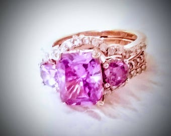 Vintage Ametyst and Diamond Engagement Ring Set in Rose Gold