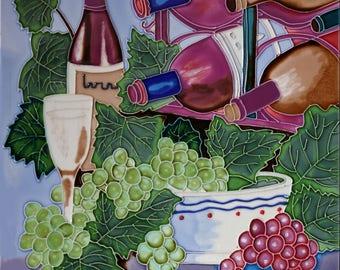 Handmade decorative ceramic tile wine