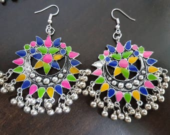 Multi-Coloured (shorter) Enamel Silver oxidised long chandelier chandbalis party festive wear