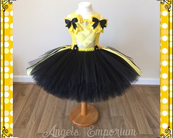 Tutu Dress inspired by Emma Wiggles from The Wiggles! Yellow and Black Tutu Dress. Party Pageant Birthday Occasion Dress.
