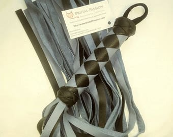 Contemporary Grey and Black Leather BDSM Flogger