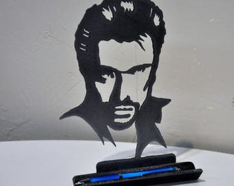 porte stylo original en métal,silhouette Johnny Hallyday