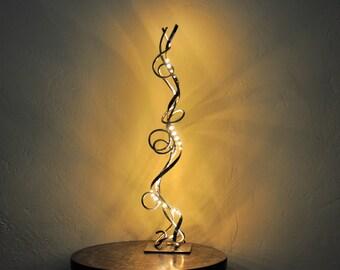 luminaire,lampe en fer forgé de salon ,moderne,design a LED blanc chaud