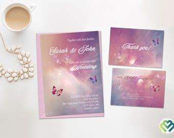 Galaxy Wedding Invitation Under Stars Wedding Romantic Invite Celestial Wedding Space Wedding Invitation Suit Galaxy Themed