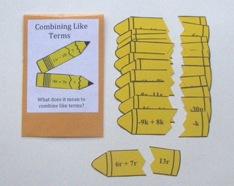 Teacher Made Math Center Educational Learning Resource Game Combining Like Terms