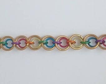 Rainbow & Gold Chain Maille Bracelet (2-in-1 Multisize)