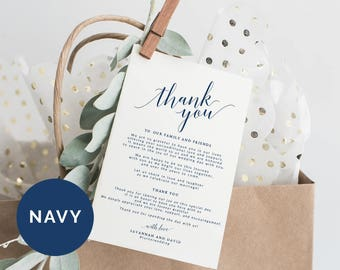 Navy Wedding Thank You Cards Template | Printable Thank You Card Template | Editable Thank You Card | DIY Thank You Card | Thank You Note