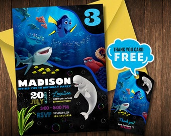 Finding Dory Invitation, Finding Dory Birthday Party, Finding Nemo Invitation, Under the Sea, Personalized, Finding Nemo Birthday Invitation