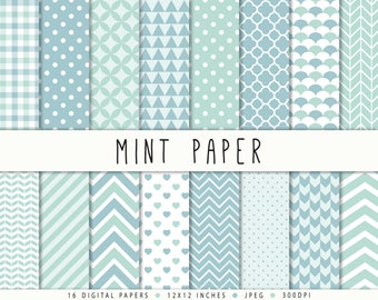 Mint Digital Paper Commercial Use Mint Polka Dots Chevron Gingham Mint Patterns Instant Download