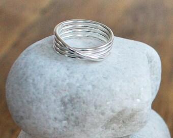 Silver Cuatro Wrap Ring