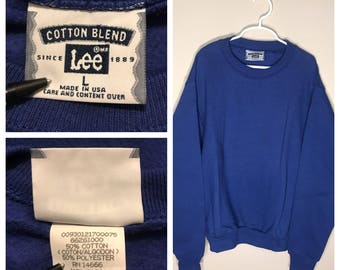 Vintage Cotton Blend Lee sweatshirt // youth large 14-16 // blank deadstock NOS crew neck // crew neck 1980s rare