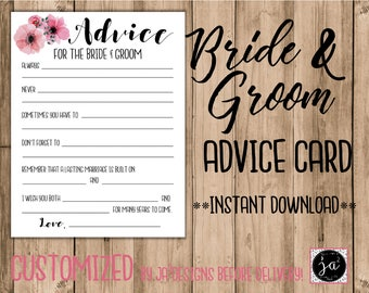 Wedding Advice Card/ Bridal Shower Games/ Advice For The Bride And Groom/ Instant Download/ Marriage Advice Card/ Floral Advice Card