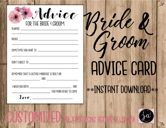 Wedding Advice Card/ Bridal Shower Games/ Advice For The Bride