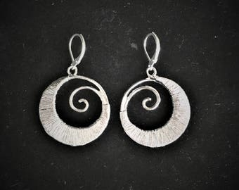 Voleena Silver Wire Wrapped Round Earrings with a Side Wire Spiral; handmade