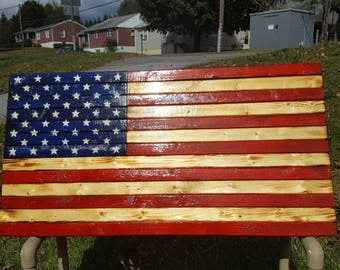 Rustic handcrafted American Flag decor 36x19